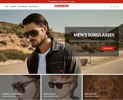 Homepage of the new Carrera sunglasses U.S. e-commerce platform www.us.carreraworld.com