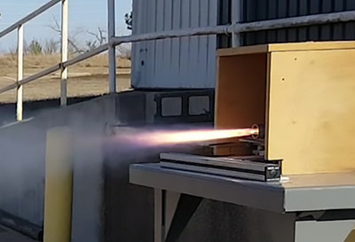 A mobile ground testing rig used to validate rocket performance.