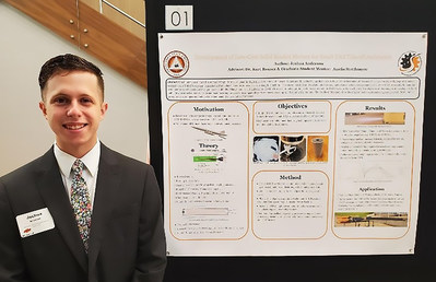 Josh Anderson presents a rocket research display at OSU's 2021 Undergraduate Summer Research Expo.