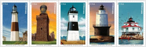 Postal Service Issues Mid-Atlantic Lighthouses Stamps