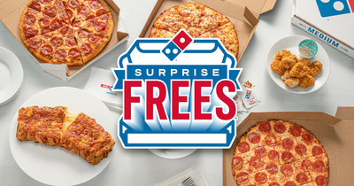 Domino's is surprising randomly selected customers across the U.S. with free menu items now through Nov. 21, 2021 when they order delivery online. The Surprise Free menu items include Hand Tossed Pizzas, Boneless Chicken, Handmade Pan Pizzas, Stuffed Cheesy Bread, Crunchy Thin Crust Pizzas and Chocolate Lava Crunch Cakes.