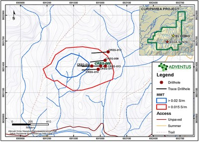 New VMS system identified at the Agua Santa target, 4.5 km southwest of El Domo deposit and within the Curipamba project (CNW Group/Adventus Mining Corporation)