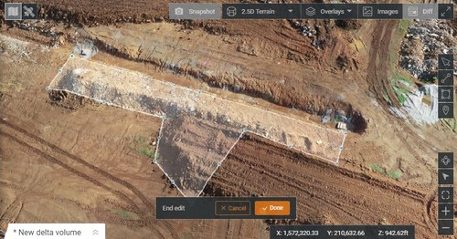 HCSS Aerial drone image with the ability to edit calculations.