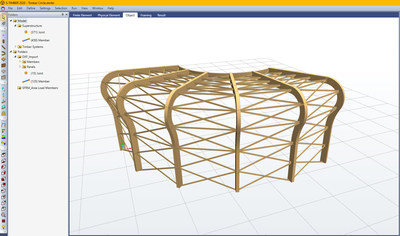This timber model shows curved glulam column and beam design capabilities in S-FRAME's S-TIMBER software.