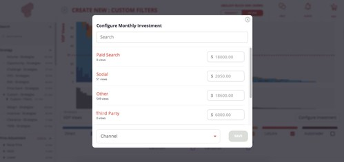 Input existing Google, social, and third-party advertising budgets to configure monthly investment per unit.