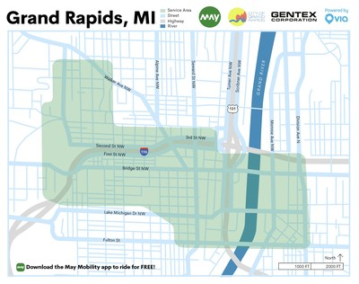 May Mobility's 1.36 sq. mile service zone includes more than 20 designated pick up and drop off areas in downtown Grand Rapids.