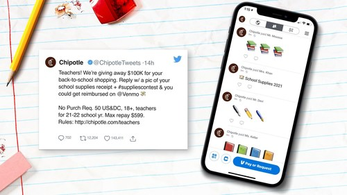 Chipotle will support teachers by giving away up to $100K in supplies for back to school. By sharing their school supplies receipt on Twitter using #SuppliesContest, teachers have the opportunity to get reimbursed.
