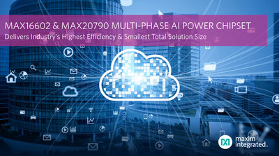 The MAX16602 and MAX20790 multi-phase AI power chipset by Maxim Integrated® delivers the industry's highest efficiency and smallest total solution size.