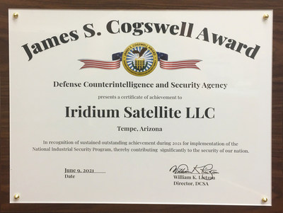 Iridium Receives 2021 James S. Cogswell Outstanding Industrial Security Achievement Award post image