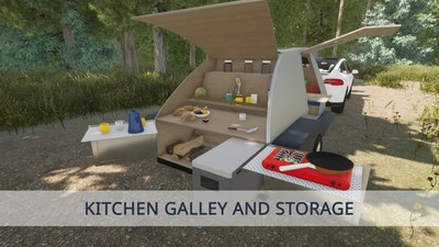 Kitchen galley and storage that you'll find in all of our Colorado Teardrops
