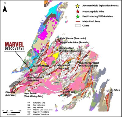 Figure 1. Location of the Marvel Discovery along the BVBL. (CNW Group/Marvel Discovery Corp.)