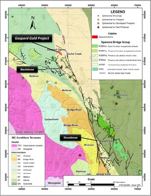 Figure 2. Regional geological and structural setting of the Gaspard Gold Project. (CNW Group/Falcon Gold Corp.)