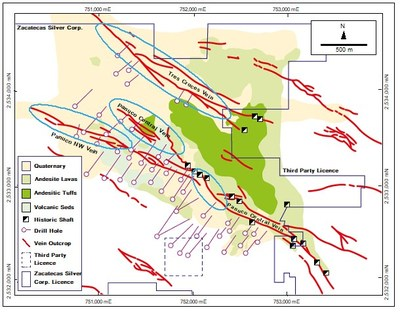 Figure 01: Geological map of Panuco showing historical drill traces. Priority drilling areas are shown blue. The Panuco NW Vein, Panuco Central vein and Tres Cruces veins have never been effectively drill tested — despite significant surface trench geochemistry. The flexure in the Panuco Central vein is also targeted. The system is open at depth. (CNW Group/Zacatecas Silver Corp.)