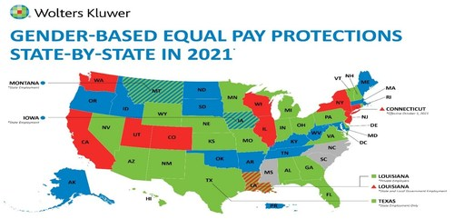 Wolters Kluwer Assembles State-By-State Breakdown of Gender-Based Equal Pay Protections. As of August 12, 2021
