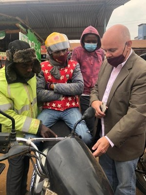 Dr. Trono meeting with motorcycle taxi (boda boda) drivers in Nairobi
