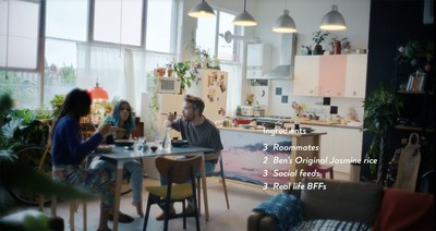 """Roommates Evelyn Stone-Peters, Reka Toth and Karl O'Shea share a meal with Ben's Original™ Rice for the brand's new global campaign, """"Everyone's Original."""" Left to right: Evelyn Stone-Peters, Reka Toth, Karl O'Shea."""