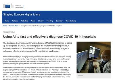 Article de la Commission européenne concernant InferVision : L'IA au service du diagnostic rapide et efficace de la COVID-19 dans les hôpitaux (PRNewsfoto/InferVision AI)