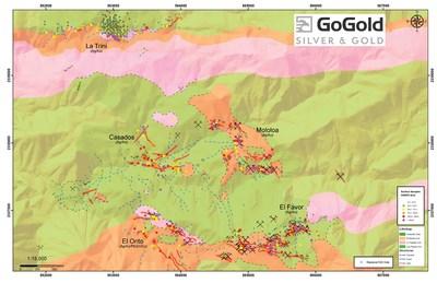 Figure 1: Plan View – La Trini to El Favor Area of Los Ricos North (CNW Group/GoGold Resources Inc.)