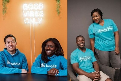 L to R: Clarence Tan and Edna Martinson of Boddle Learning, and Kwaku Owusu and Melanie Igwe of DrugViu
