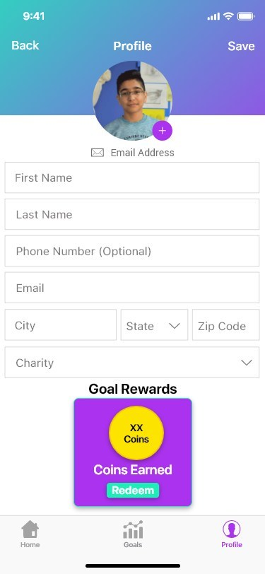 Set up your profile to start earning coins!