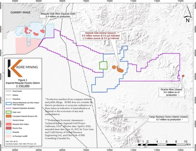 FIGURE 1: IMPERIAL GOLD PROJECT MAP (CNW Group/Kore Mining)