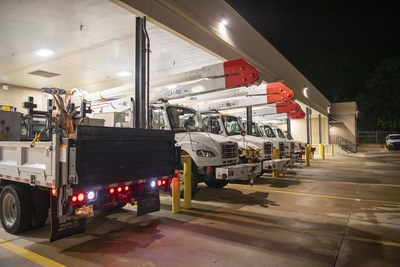 A convoy of Georgia Power trucks and personnel left to assist with Hurricane Henri in Connecticut at 6 a.m. Sunday.