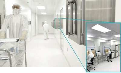 Signature Biologics' new 11,000 sq ft manufacturing space, including 5 cGMP cleanrooms and 10 ISO-5 biosafety cabinets.