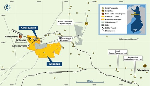 Figure 1. Location of Cullen's Katajavaara and Aakenus projects, northern Finland. (CNW Group/Capella Minerals Limited)