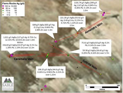 Figure 3. Significant values from trenching on new veins from the Lagunitas zone (CNW Group/Sable Resources Ltd.)