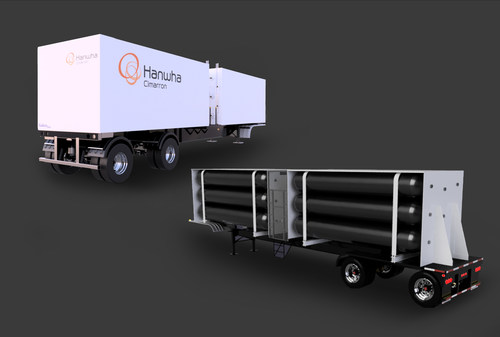 Hanwha Cimarron's tube trailers carrying high-pressure tanks.