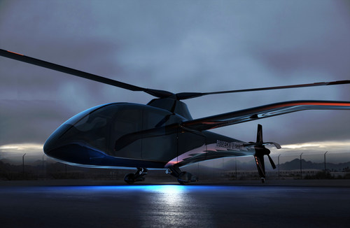 Rendering of the Piasecki PA-890 eVTOL Compound Helicopter, powered by the HyPoint turbo air-cooled hydrogen fuel cell system