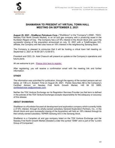 Shamaran to Present at Virtual Town Hall Meeting on September 2, 2021 (CNW Group/ShaMaran Petroleum Corp.)