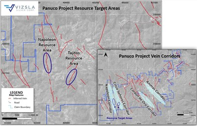 Figure 1: Plan map showing location of resource area drilling at Napoleon and Tajitos. Inset of the greater Panuco property package highlighting the four main vein corridors (blue ellipse) currently being explored by Vizsla. (CNW Group/Vizsla Silver Corp.)