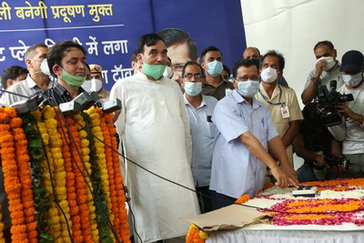 Mr. Arvind Kejriwal, Honourable Chief Minister of Delhi inaugurating TATA Projects' constructed smog tower