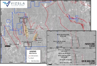Plan map showing the location of recent drilling at Papayo and Ojo de Agua, relative to Napoleon resource area drilling. (CNW Group/Vizsla Silver Corp.)