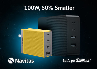 Navitas Semiconductor GaNFast in Sharge 100 W fast charger.