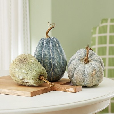 Harvest decor is subtle in blues this season with new Ballard Designs faux gourds and pumpkins.