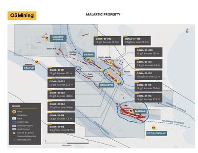 Figure 1 : Carte du projet Marban (Groupe CNW/O3 Mining Inc.)