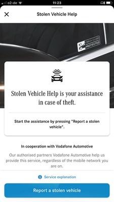 Mercedes Stolen Vehicle Help Screenshot