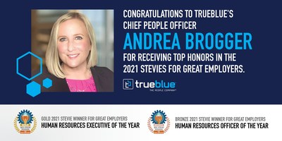 TrueBlue's Chief People Officer Andrea Brogger received top international honors in the 2021 Stevie® Awards for Great Employers, winning both a gold award for human resources executive of the year and bronze for human resources officer of the year.