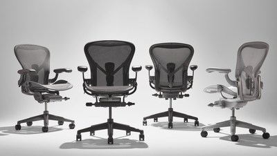 Herman Miller's Aeron Chair, now with ocean-bound plastic, is available in a palette of four material expressions centered on elements pulled from the Earth: Onyx, Graphite, Carbon, and Mineral.