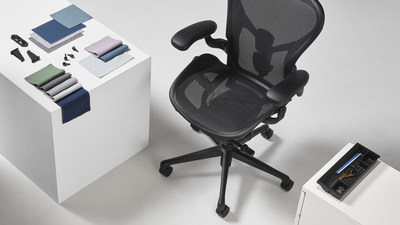 Herman Miller's ocean-bound plastic use-cases including Aeron Onyx, the Revenio textile collection, utility trays, and parts of OE1.