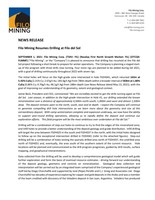 Filo Mining Resumes Drilling at Filo del Sol (CNW Group/Filo Mining Corp.)
