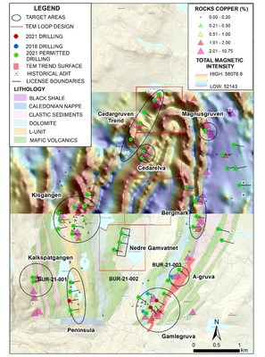 Figure 1. Location of Phase I UAV Magnetic Survey, high priority target areas and 2021 planned drilling at the Burfjord Project, Norway. (CNW Group/Norden Crown Metals Corp.)