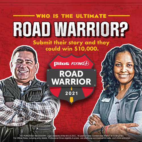 From Sept. 1 - 30, 2021, nominate a professional truck driver for the chance to win Pilot Flying J's Road Warrior with a grand prize of $10,000.