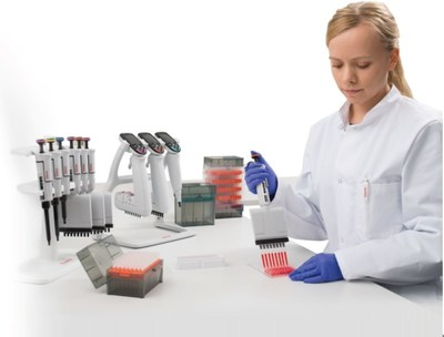 Thermo Fisher will co-invest with the U.S. government in building a new, state-of-the-art, energy efficient manufacturing facility for pipette tips shown here and used in research and diagnostic labs to dispense precise amounts of liquid.