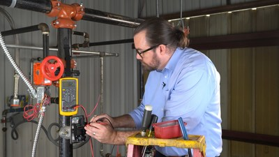 Instructor demonstrates how to install a water flow switch