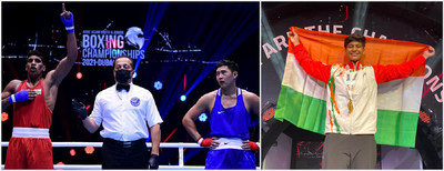(L-R) Vishal Walia of Chandigarh University representing India declared winner in the finals of the Asian Youth Boxing Championship at Dubai and Khushi celebrating her gold medal with Indian Flag.