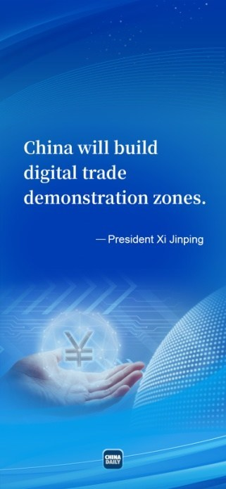4 President Xi Jinping delivers a speech at the Global Trade in Services Summit of the 2021 China International Fair for Trade in Services via video on Thursday. [Graphicchinadaily.com.cn]