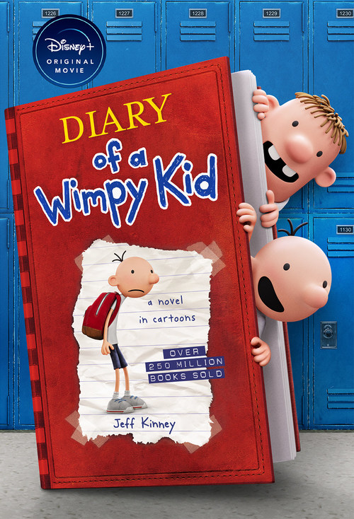 Special edition book cover of Diary of a Wimpy Kid (Special Disney+ Cover Edition) provides a first look at animation of beloved characters Greg Heffley and Rowley Jefferson from Disney+ movie.
